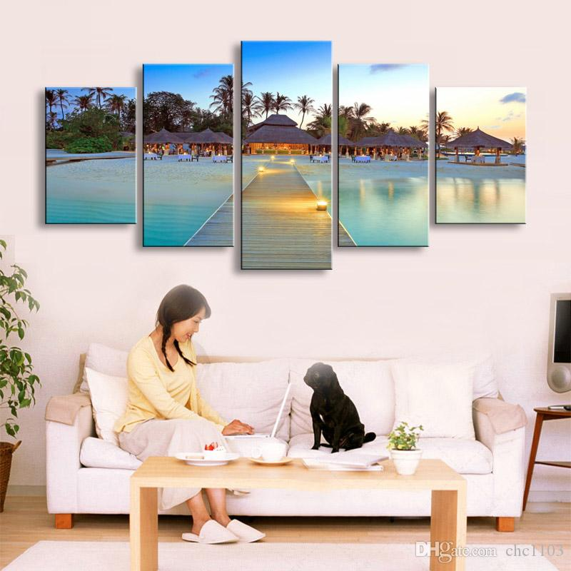 high-definition print beach canvas oil painting poster and wall art living room picture PL5-198