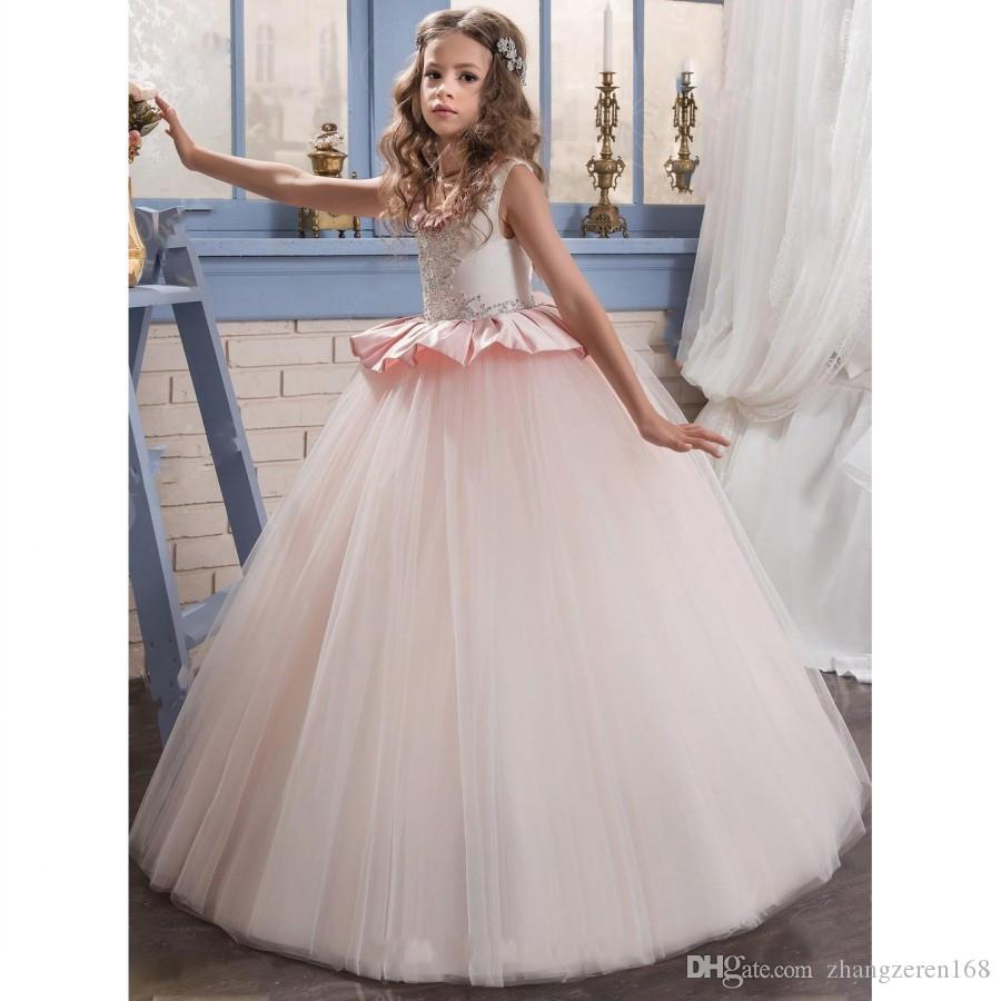 2017 princess ball gown pink flower girls dress ruffles jewel neck see larger image ombrellifo Gallery