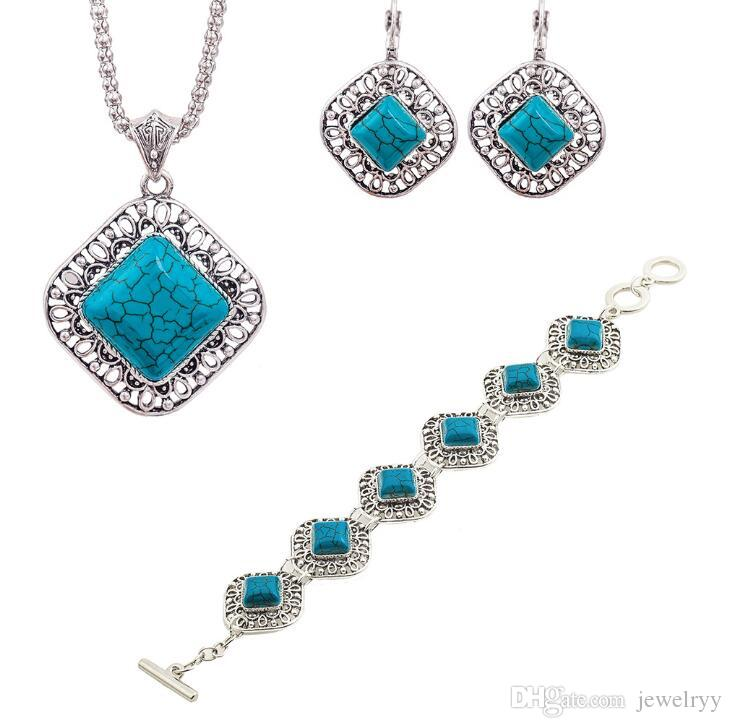 2018 Women Bohemian Jewelry Set Retro Blue Turquoise