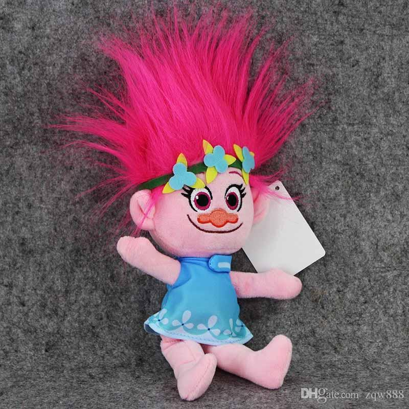 Novas / 23-30cm DreamWorks filme Trolls Plush Toy Boneca Poppy Cooper DJ Suki Harper Guy Diamante Filial Stuffed Dolls SQ