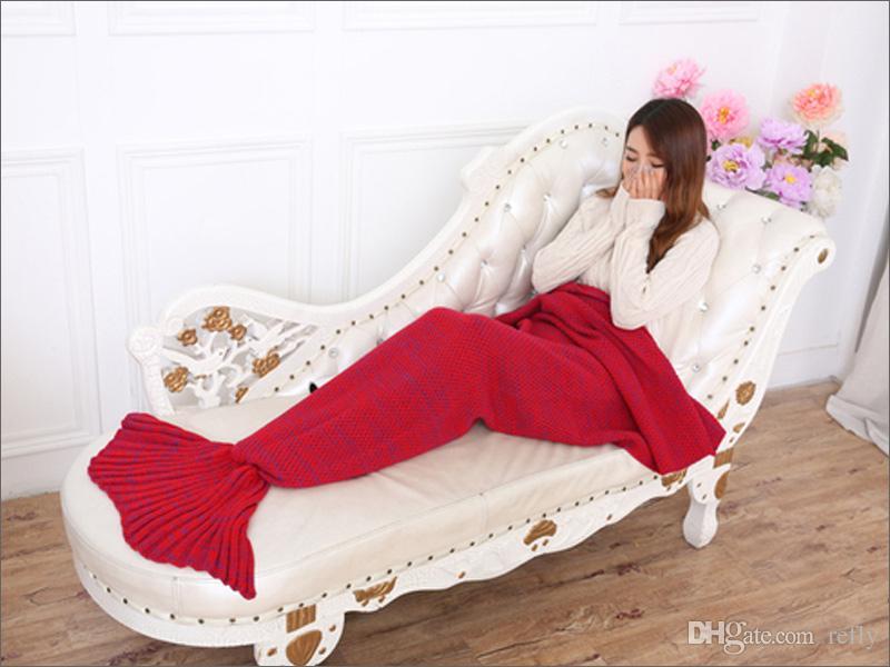 Yetişkin ve Çocuklar Tığ Mermaid Kuyruk Battaniye Uyku Tulumu Kostüm Koza Yatak Örme Kanepe Battaniye El Yapımı Oturma Odası Uyku Tulumu