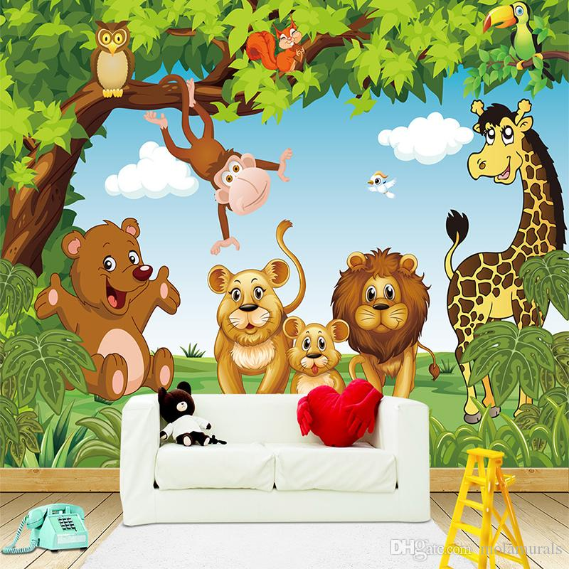 Cartoon Wall Mural Forest Animals Animation children room 3D Mural for Kids Room Boy/Girl Bedroom wallpaper custom any size