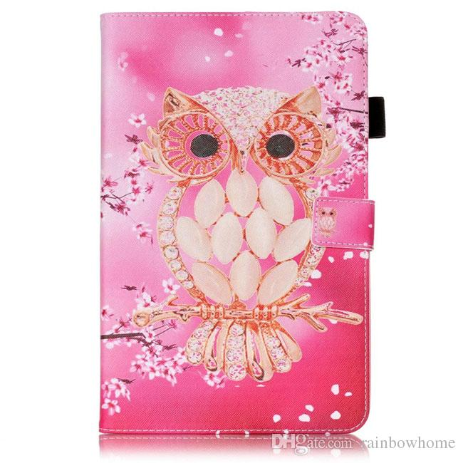 Color Mix Farfalla gufo PU Custodia in pelle Portafoglio Flip Card Slot Custodie Custodia Samsung Galaxy Tab T280 T230 T550 T560 T580