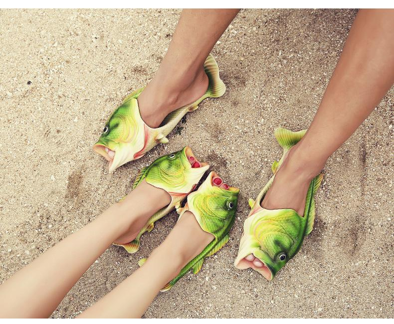 70257c67cd683 Creative Fashion Lifelike Fish Funny Slippers Flat Sandals Leisure Beach  Slippers Parenting Slipper Couple Shoes Gifts High Heel Shoes Designer Shoes  From ...