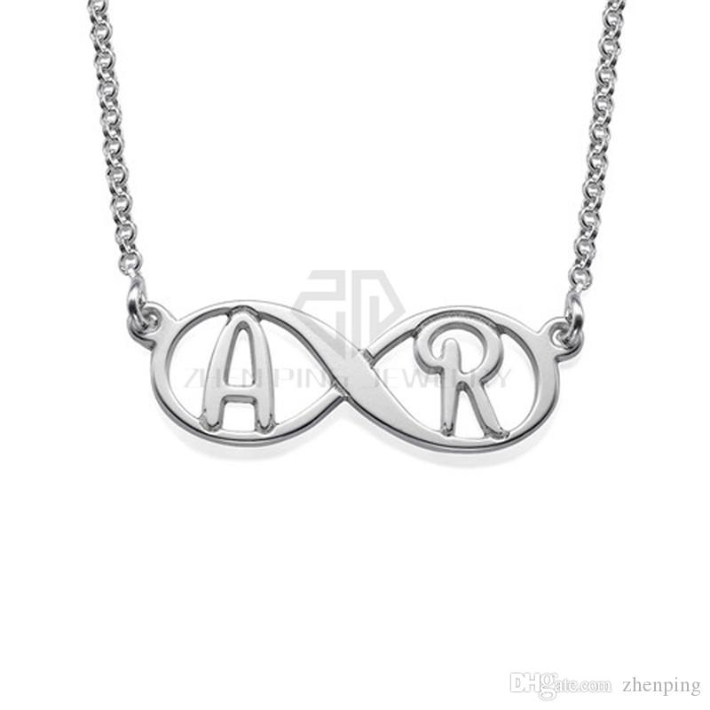 040f670f6 Wholesale Infinity Personalized Nameplate With Initials Name Necklace  Silver Engraving Name Necklace 316 Stainless Steel Pendant With The Custom  Name ...