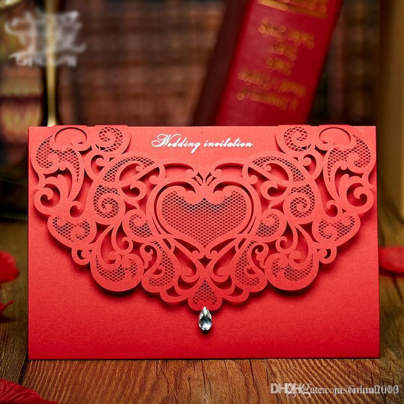 Laser Cut Wedding Invitation Card with Diamond 2017 Red ...
