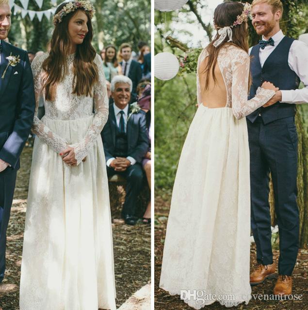 2017 Dantel Sahil Gelinlik Yüksek Boyun Sheer Uzun Kollu Keyhole Geri Kat Uzunluk Boho Gelin Törenlerinde Ucuz Düğün Resepsiyon Elbise