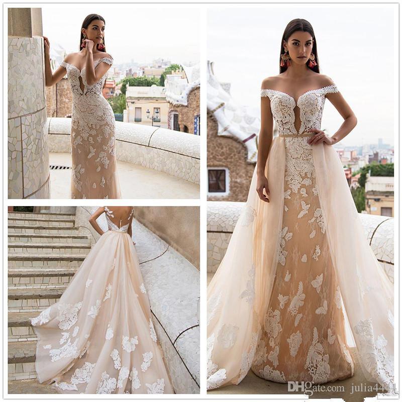 Milla Nova Blush Champagne Beach Garden Mermaid Wedding Dresses With