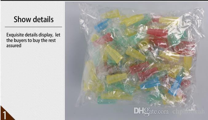 Boquilla de la cachimba 100 Cápsulas de plástico caliente Mini accesorios de la cachimba Portacepillos desechables para la protección del medio ambiente
