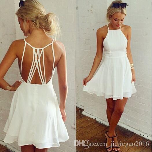 3b39de72f1e3 Hot White Cross Lace Up Backless Spaghetti Strap Short Skater Dress ...