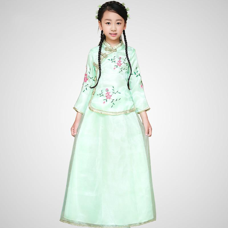 Q228 New Arrival Children Chinese Traditional Costume Top+skirt 2 Pcs Girl Chinese Ancient Costume Kids Hanfu Wedding Clothing 18