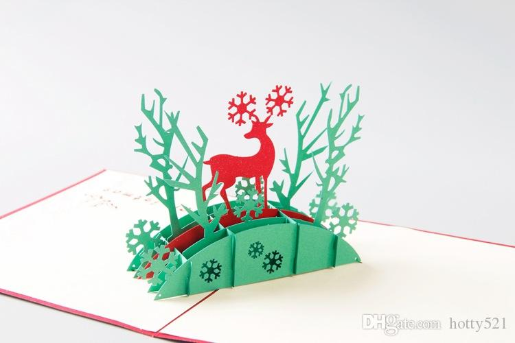 Tarjetas Pop Up 3D Santa Deer Árbol de Navidad Hecho a mano Kirigami Origami Tarjeta de felicitación Festivo Fiesta Fiesta