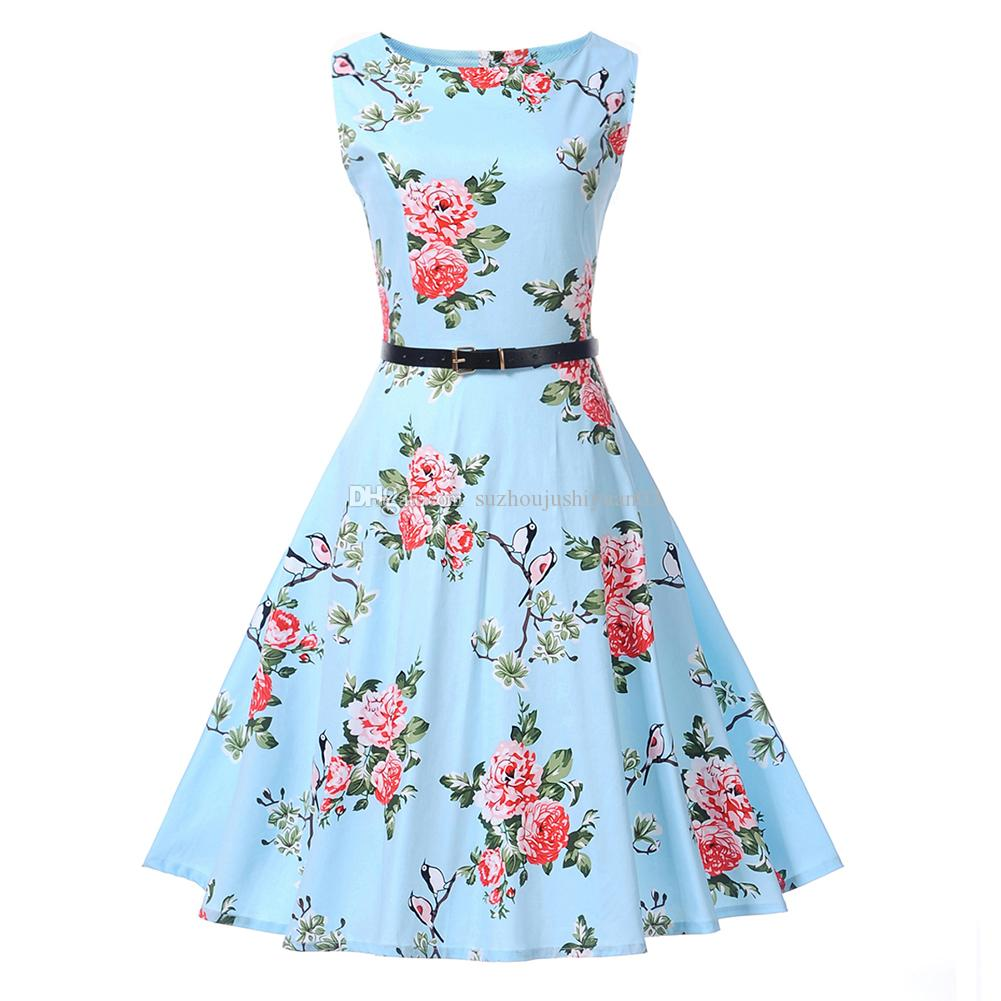 LINGLINGDING Women\'s Vintage 1950\'s Floral Spring Garden Party ...