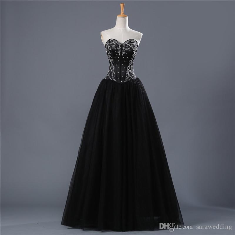 Abiti da ballo in tulle nero con perline in rilievo Abiti in pizzo 2018 Elegante abito lungo formale i nuovi abiti da ballo