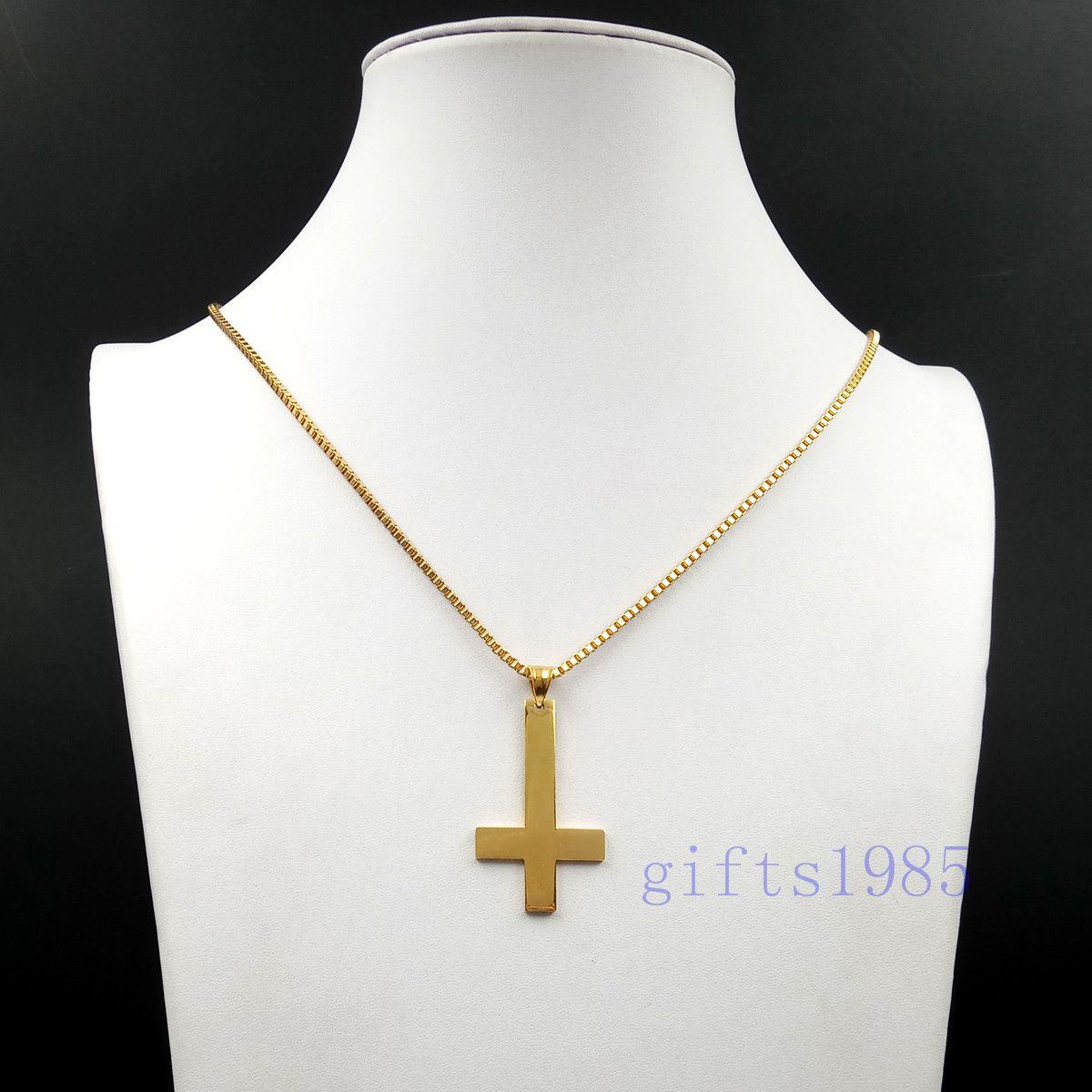 Croce di San Pietro Upside Down Cross in acciaio inossidabile dorato pendente ciondolo collana da 30 pollici catena regalo degli uomini