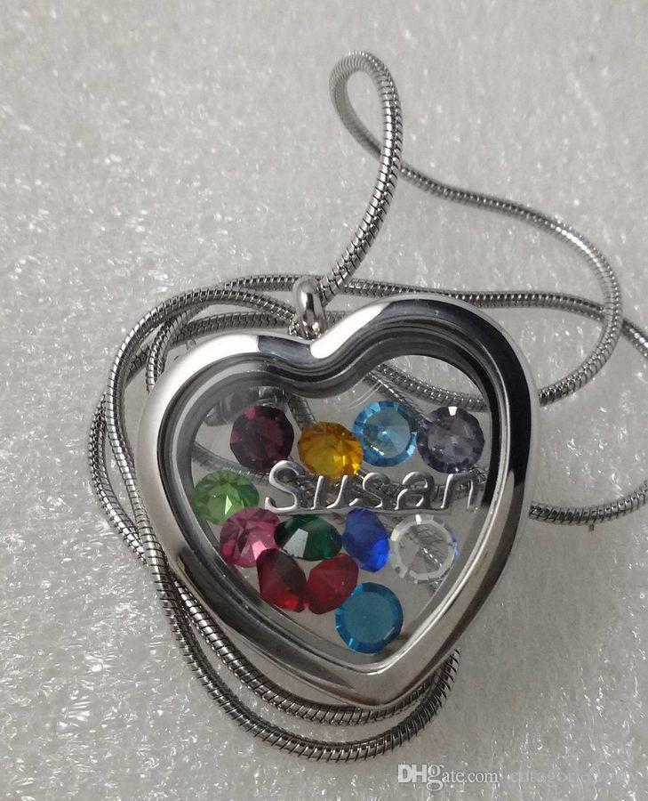 Brand OEM 316L Surgical Stainless Steel Plain Face Square Heart Shaped Magnetic Glass Floating Charm Locket Pendant Snake Chain Necklace
