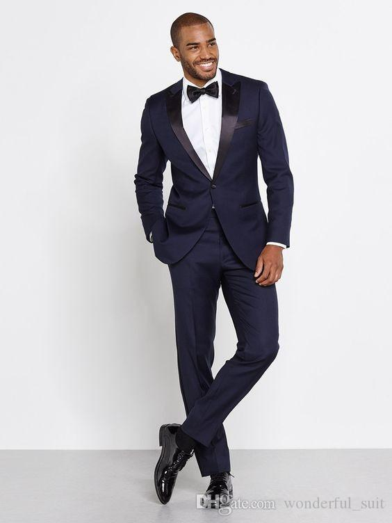 2016 Men Navy Tuxedos Two Piece Suits One Button Peak Lapel Satin Custom Made Wedding Groom Slim Suits High Quality