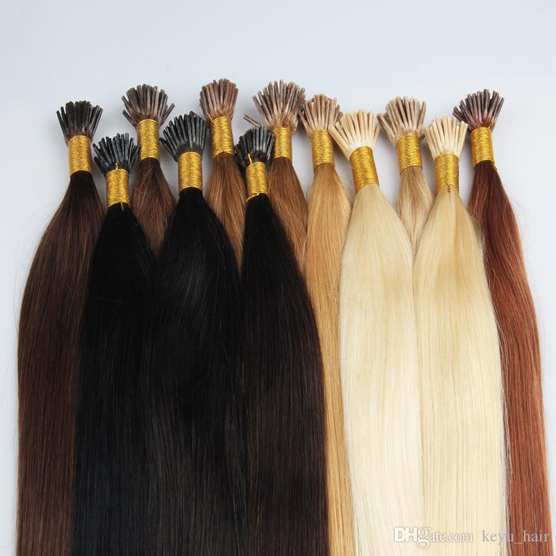Hot Selling Keratin I Tip Hair Extensions Straight Brazilian Virgin Remy Human 1g S 50g Various Color Available Fusion For Sale