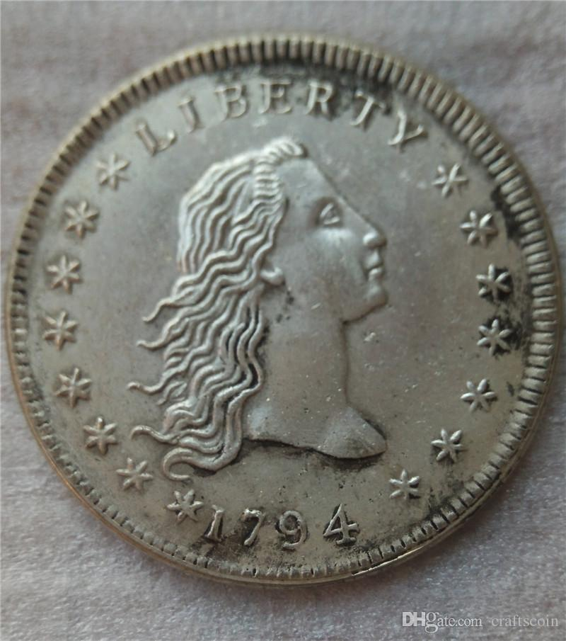 United States Draped Bust Dollar 1794 Coins Copy Archaize Old Looking US Coins Brass Crafts Coins\Whole Sale