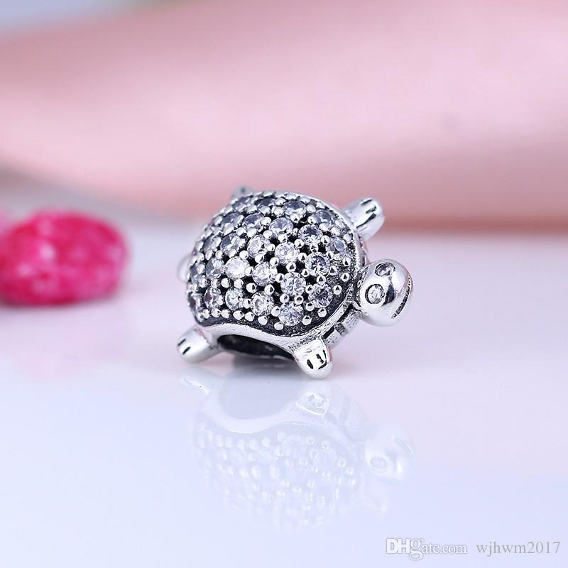 Sea Turtle Charm Beads Authentic 925 Sterling Silver Pave Crystal Animal Beads For Jewelry Making DIY Brand Bracelets Accessories HB323