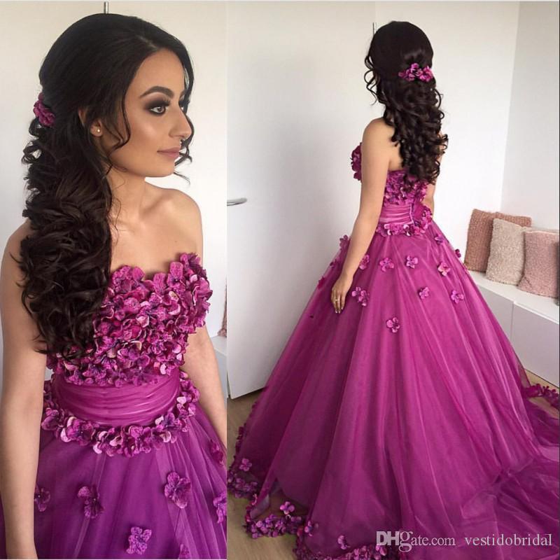 2018 Purple 3d Flower Applique Prom Dresses Sweetheart Zipper A Line ...