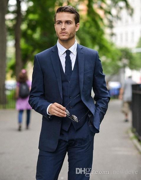 Azul Mens Navy Ternos Noivo Smoking Notch lapela dos homens casamento Blazer Custom Made Suit Jacket + Calças + Vest + laço