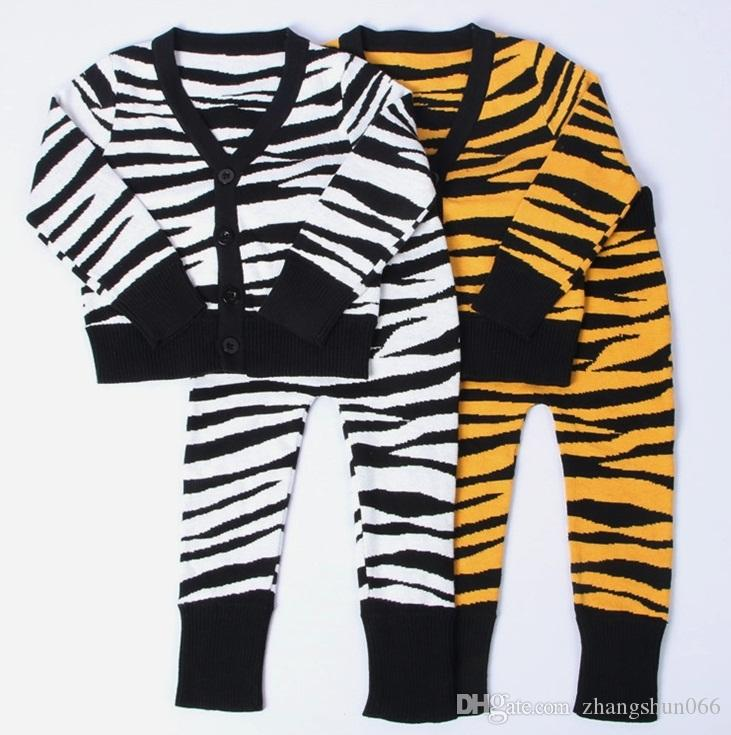 Ins Boys Girls Baby Childrens Clothing Sets Tiger Leopard Cardigan ...