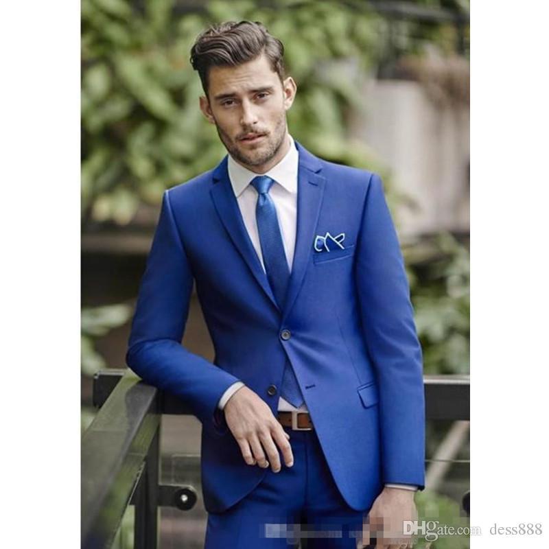 Classy Blue Wedding Mens Suits Slim Fit Bridegroom Tuxedos For Men Groomsmen Suit Cheap Formal Business SuitJacket+Pants