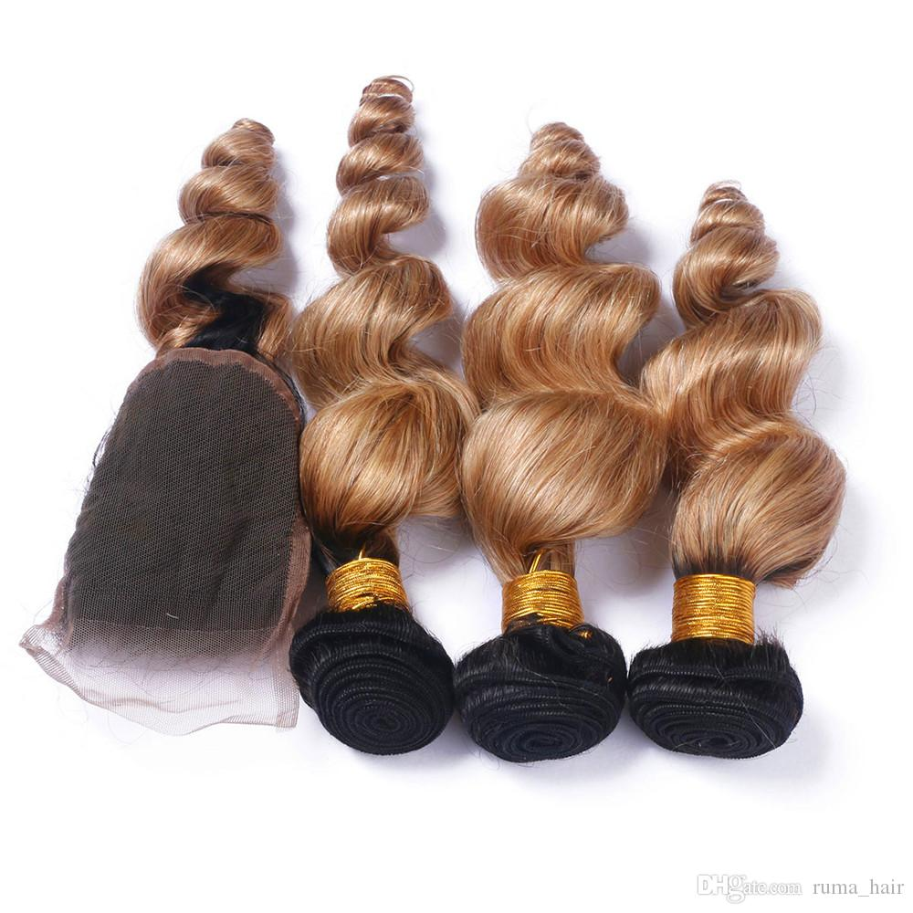 Ruma Hair Two Tone 1b/27 Ombre Peruvian Human Hair Loose Wave 3 Bundle With Lace Closure Peruvian Remy Hair 16 18 20