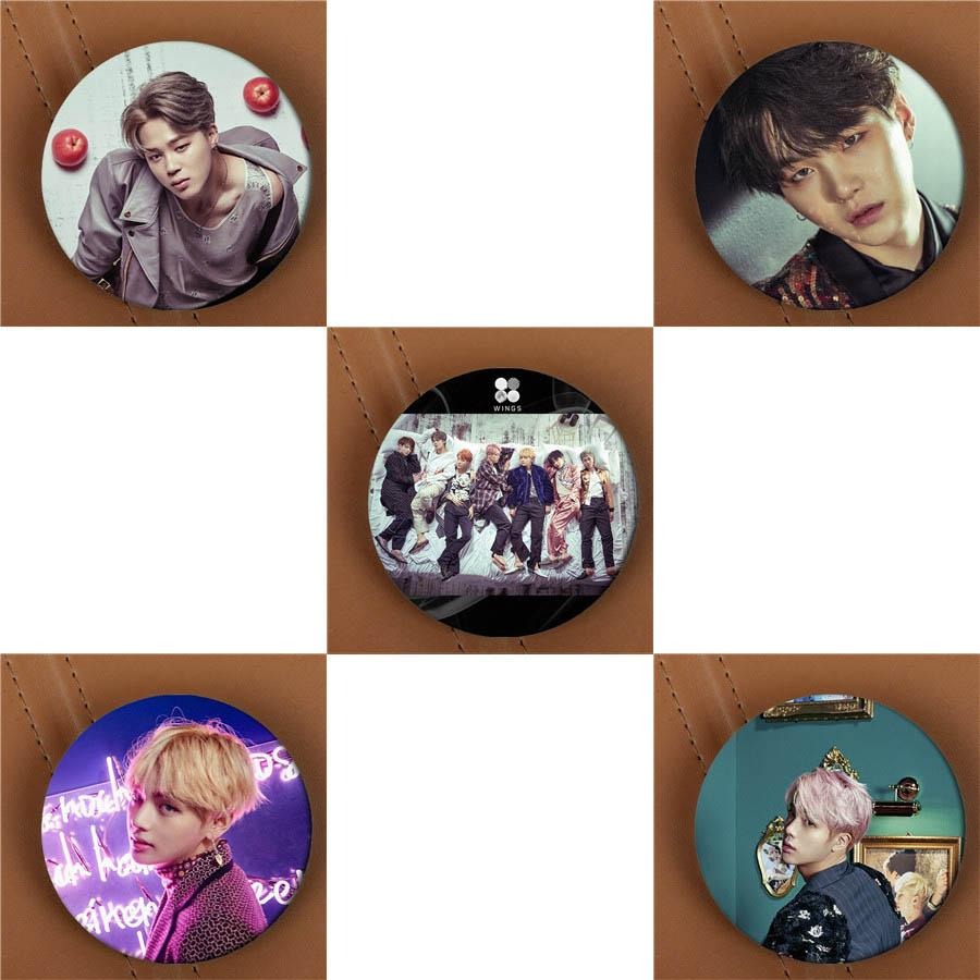 Wholesale- Youpop KPOP BTS Bangtan Boys WINGS Album Brooch Pins K-POP Badge Accessories For Clothes Hat Backpack Decoration HZ1852