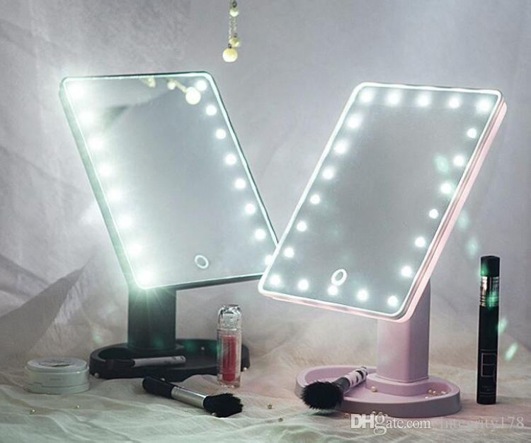 360 درجة دوران ماكياج مرآة قابل للتعديل 16/22 المصابيح مضاءة LED تعمل باللمس المحمولة مضيئة مرايا مستحضرات التجميل أسود / أبيض / وردي