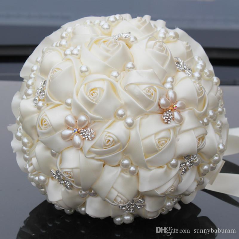 Bouquet De Mariage Ivoire Bouquet De Mariée Bouquet De Mariée Fleur Artificielle Perle Cristal Doux 15 Bouquet De Quinceanera W225-4