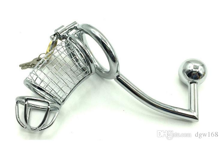 Anal Plug Lock männlich metall stahl keuschheit gerät kage hahn penis 3 verschiedene größe ringe käfige sm sex spielzeug