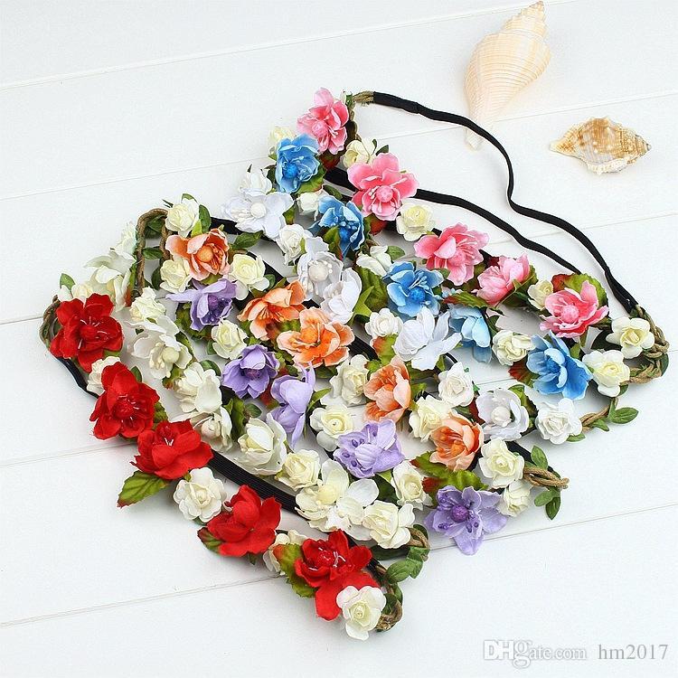 Vente Mode féminine mariée Fleurs Bandeau style bohème Rose Fleur Couronne Hairband Mesdames élastique plage Accessoires cheveux