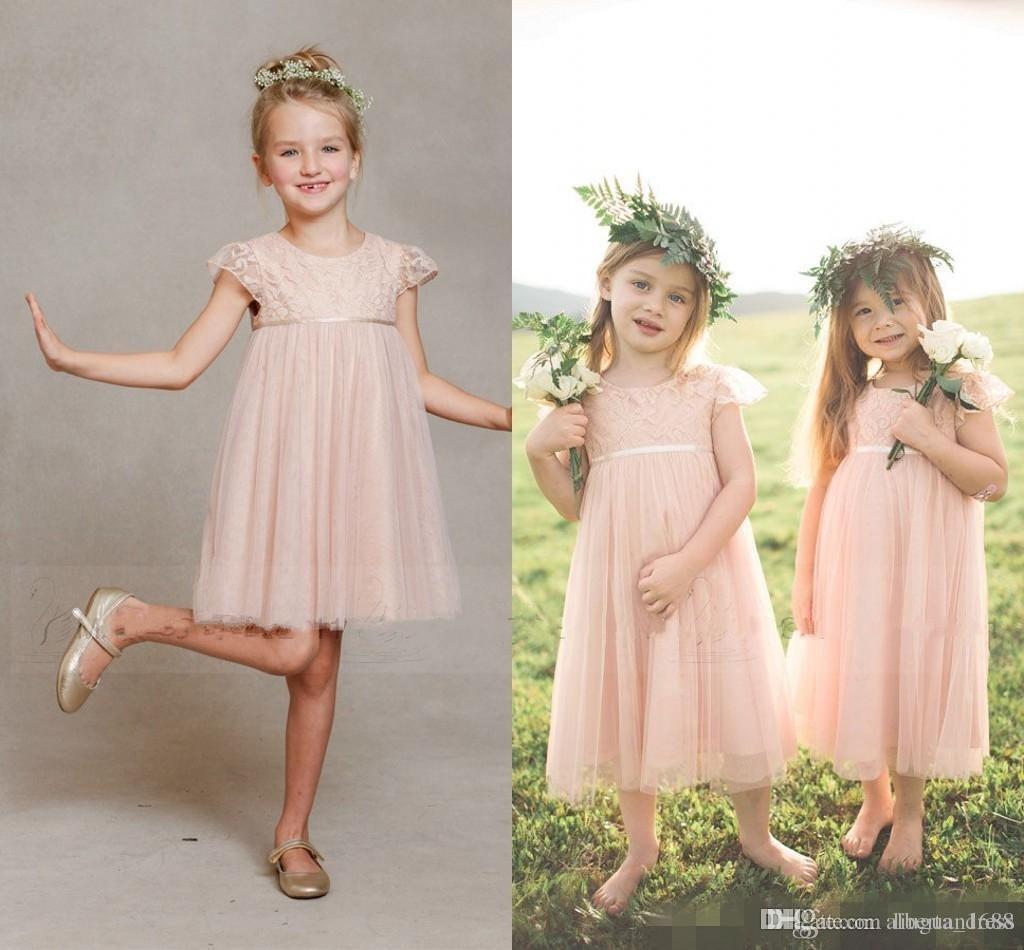 Schöne kurze Ballkleider Tüll rosa Spitze Blumenmädchenkleider für Hochzeiten Kinder Mädchen Ärmel Kleid Tee Länge Garten Kommunion Kleider