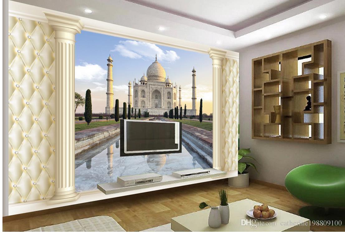 Top Classic 3D European Style 3D Stereo Soft Cloth Trees Roman Columns European Architecture TV Walls