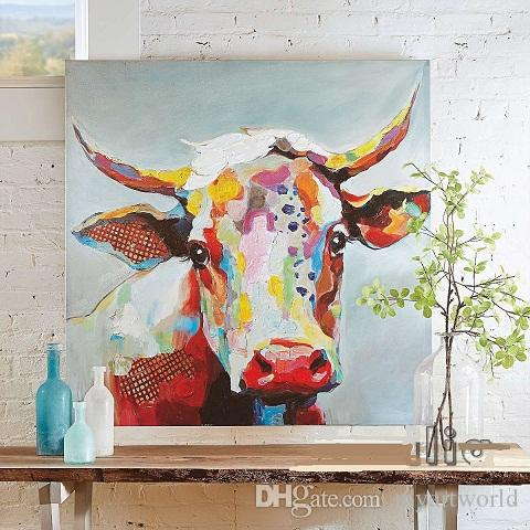 Framed Cute Cow Cartoon,High Quality genuine Hand Painted Wall Decor Abstract Animal Art Oil Painting Canvas Multi sizes