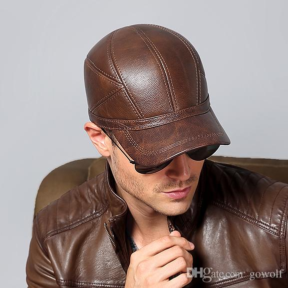 96a5abede 2019 Hot Men Genuine Leather Keep Warm Baseball Caps Winter Autumn Hat Ear  Protector Snapback Men Male Windproof Dad Hats Outdoors Christmas Gift From  ...