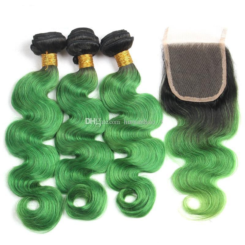 1B Émeraude Vert Vague de Corps Ombre Brésilienne Vierge de Cheveux Humains Weave 3 Faisceaux Avec 4x4 Dentelle Fermeture pré-plumée Naturel Délié Fermeture