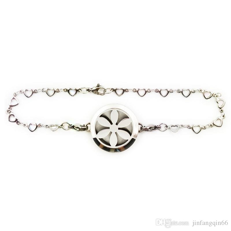 316L stainless steel perfume locket bracelet 25mm 30mm locket bracelet diffuser sunflower aromatherapy bracelet with Chain free felt pads