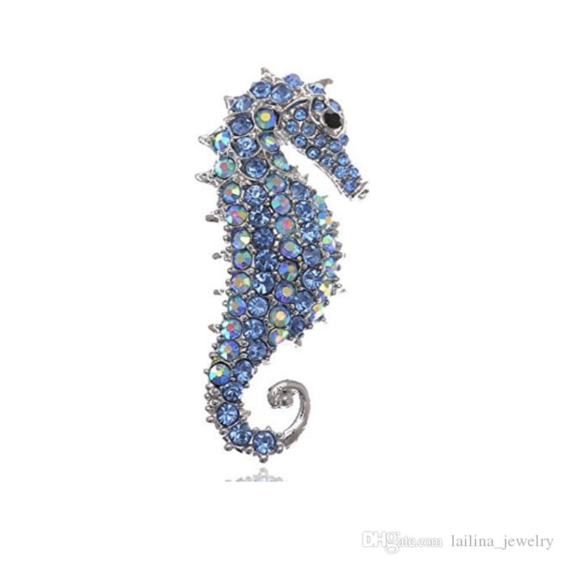 Cute Silver Plated Seahorse Brooch Pin Jewelry for Women ( Clear& Blue color )