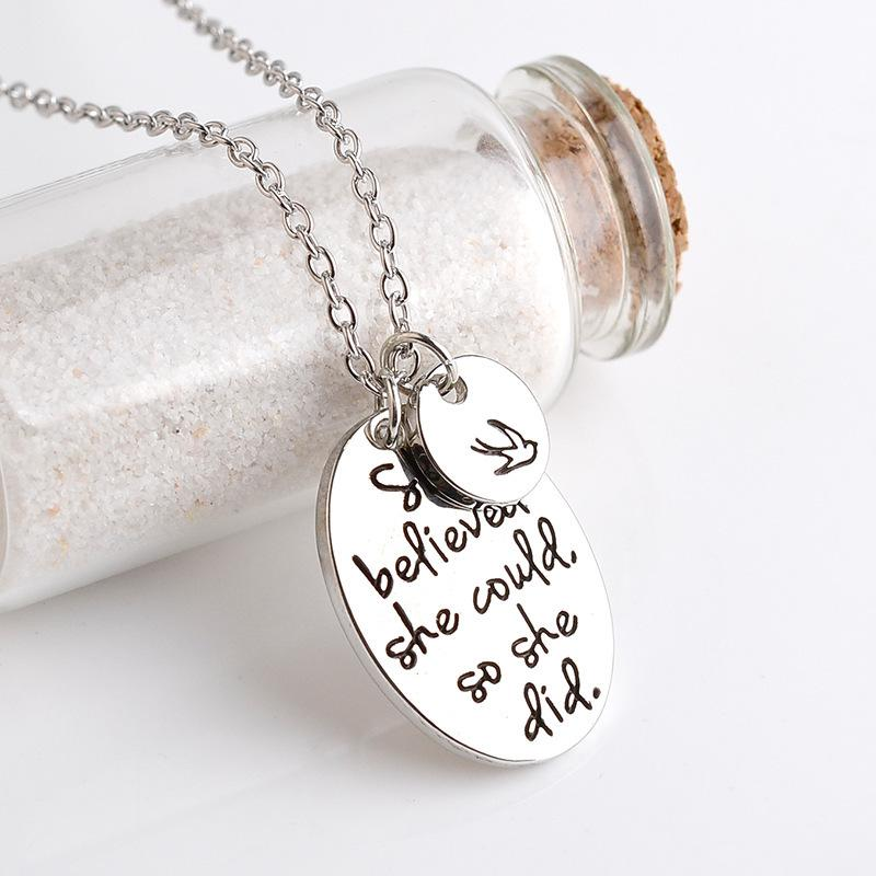 """""""she believed she could so she did"""" Disc Swallow Charms Pendant Necklace For Women Best Friends Inspirational Jewelry"""