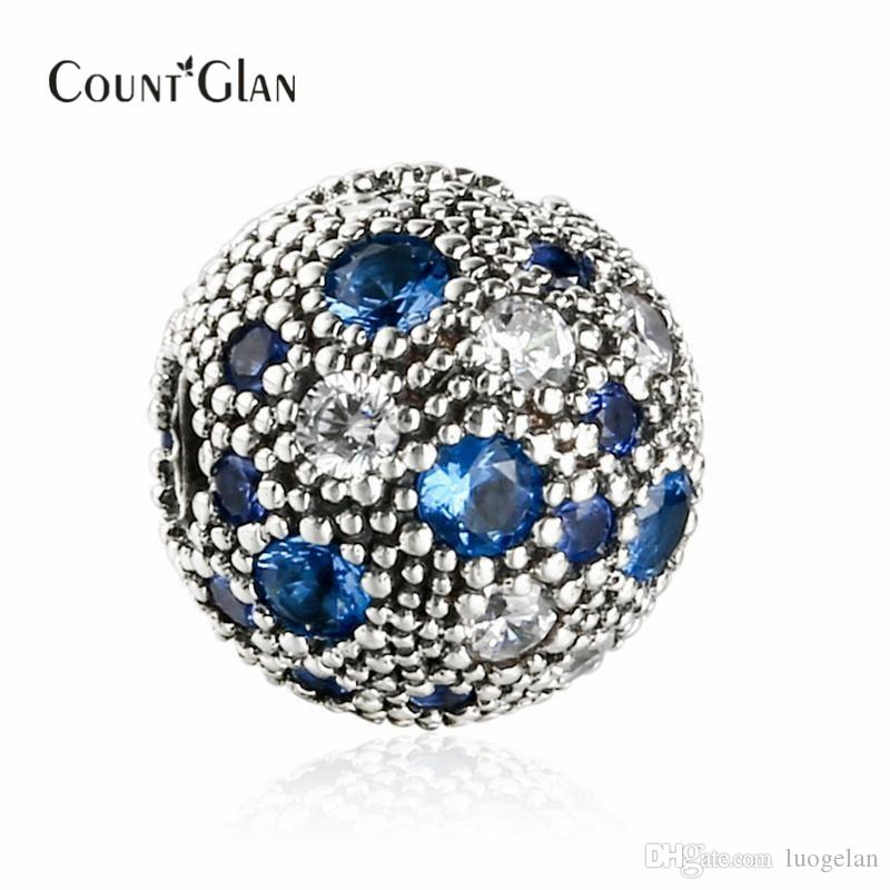 Fit Pandora Bracelet 2017 Summer New Blue Cosmic Stars Fixed Clip Charm Beads For Jewelry Making 925 Sterling Silver Decorative Stopper Bead