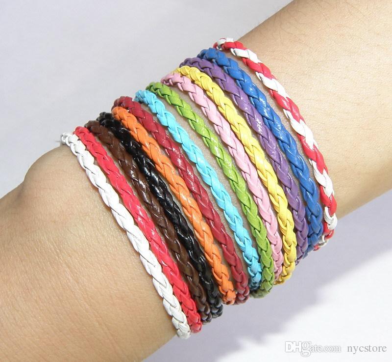 wholesale women charm leather bracelet 23cm long mix colors fashion popular lucky bracelets cheap jewelry