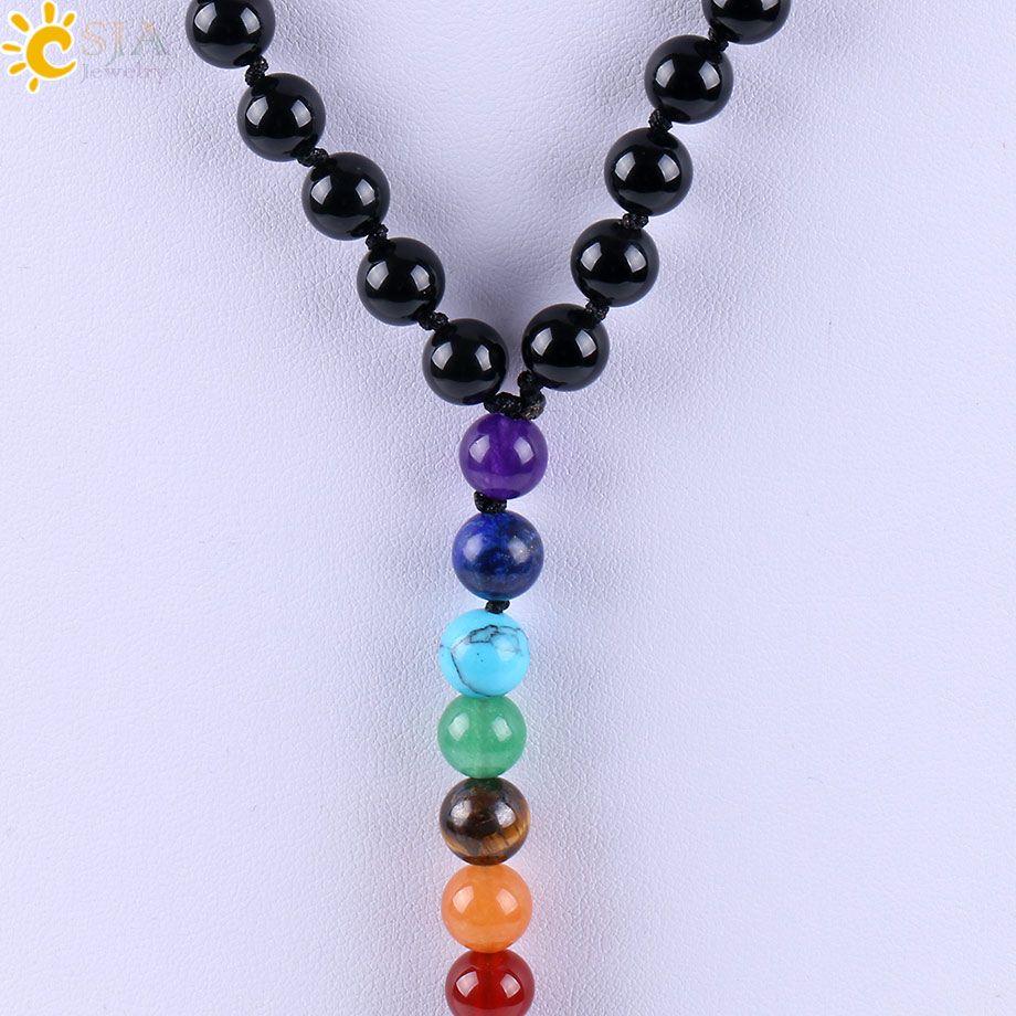CSJA New Tassel Pendant Rainbow 7 Chakra Beaded Necklace Natural Black Onyx Agate Glaze Gemstone Mala Beads Meditation Prayer Necklaces E589