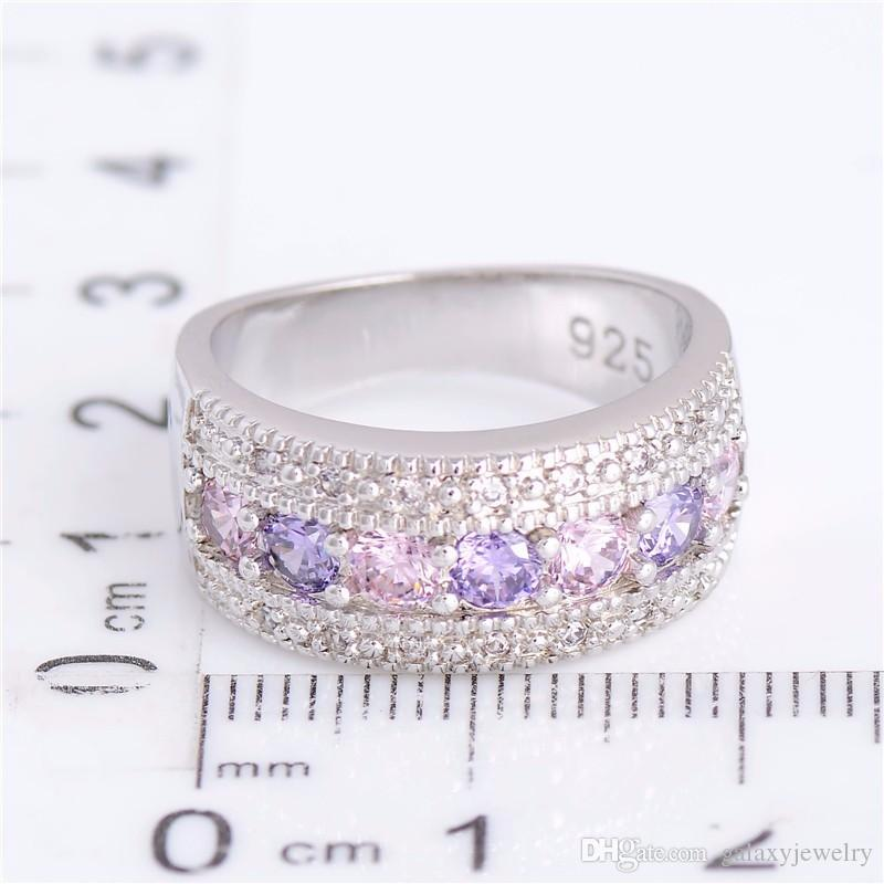 YHAMNI Real Solid Silver Wedding Rings for Women Colorful Diamond Princess Party Beautiful Finger Rings Fine Jewelry PJ147