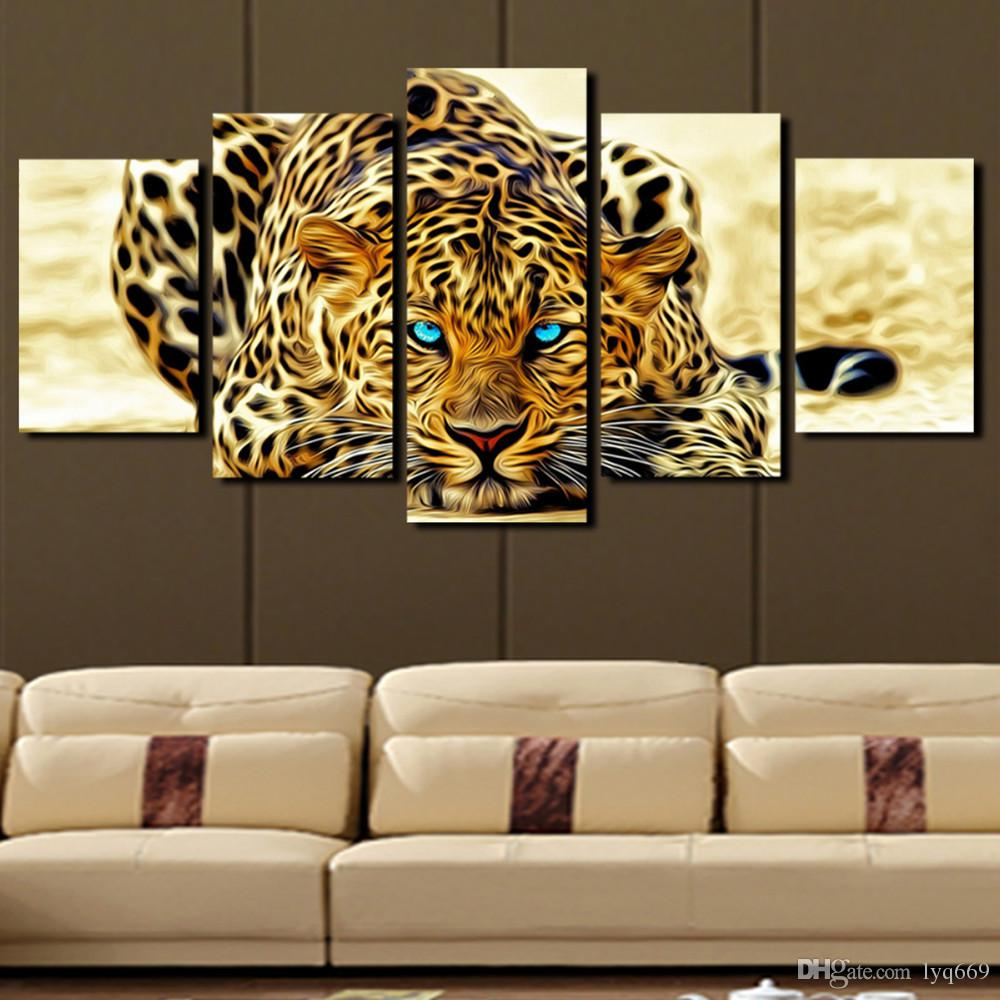 2018 5 Panel Leopard Painting Canvas Print Painting Home Decoration Living  Room Canvas Wall Art Picture Large Canvas Art From Lyq669, $30.16 |  Dhgate.Com