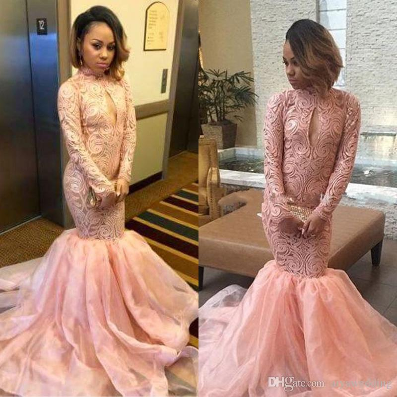 c16d2849b1d1e Pale Pink Mermaid Prom Dresses 2019 High Neck Long Sleeves Lace Organza  Custom Made Black Girls Party Dresses Plus Size Evening Gowns Cheap Black  Evening ...