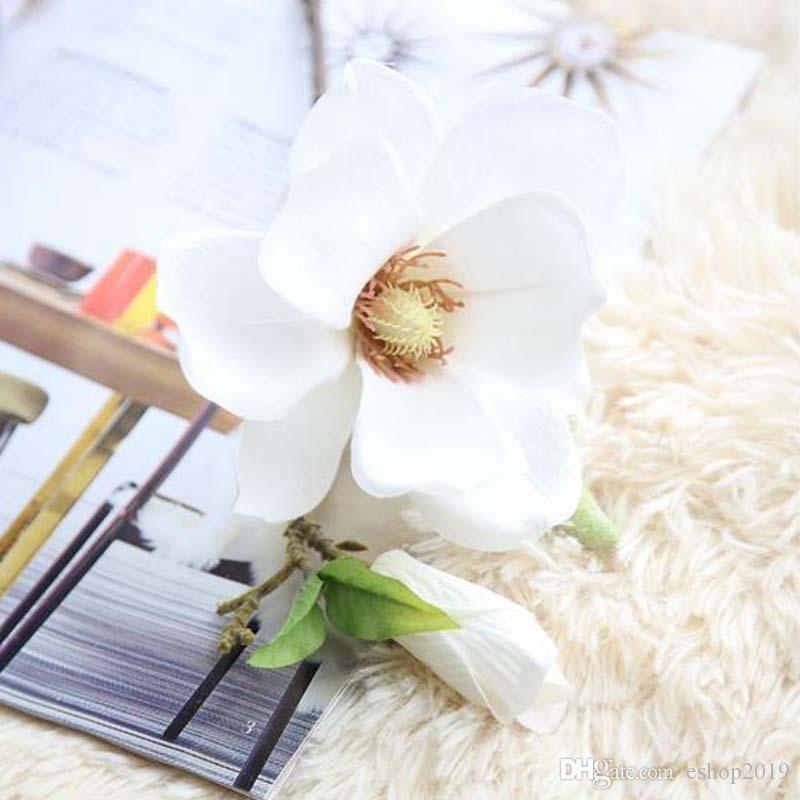 선명하고 섬세한 가정과 결혼을위한 수공예 꽃 목련 6 색의 인공 실크 꽃 목련