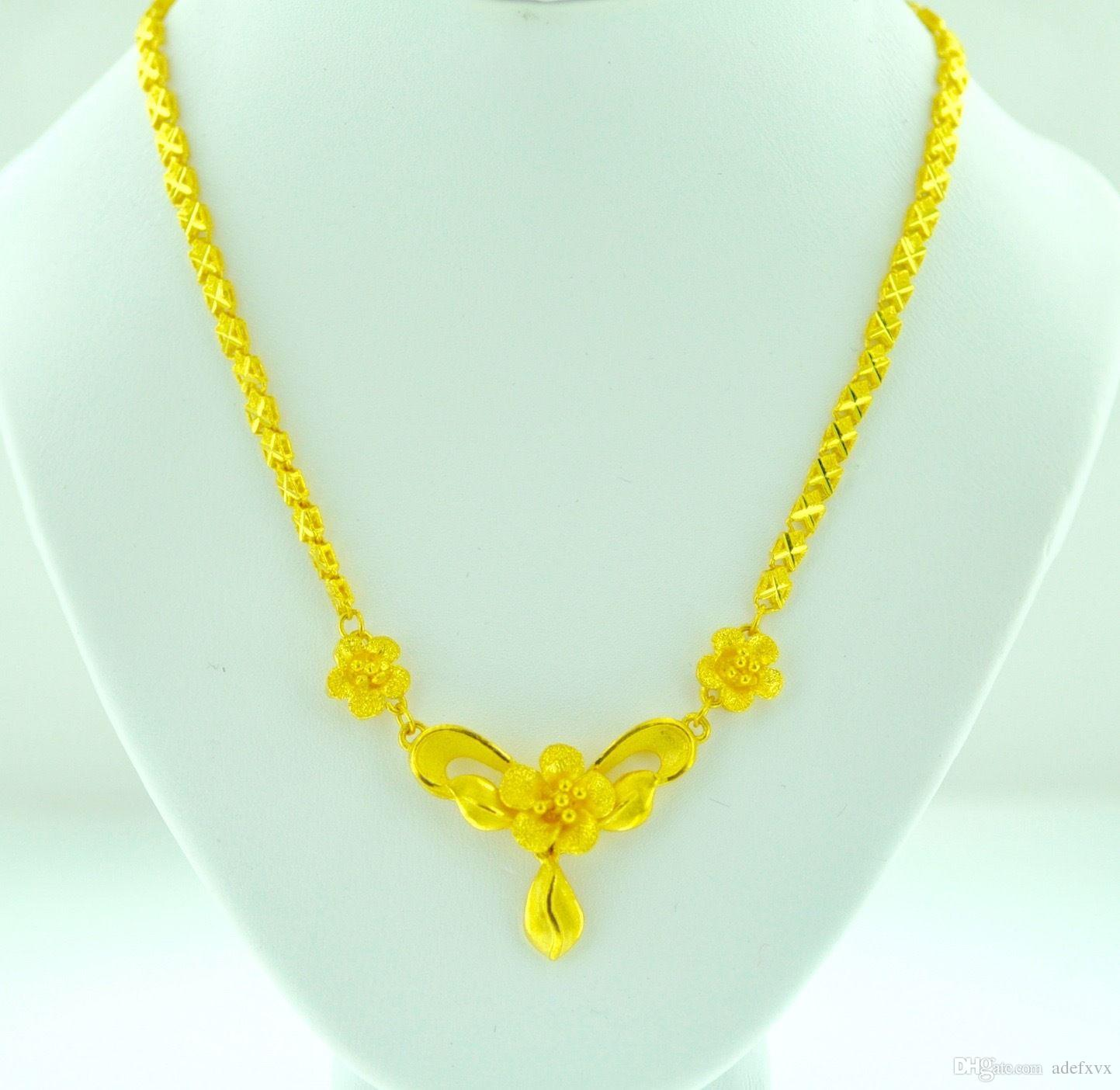 Wholesale 24k 9999 solid yellow gold ladies flower necklace 18 wholesale 24k 9999 solid yellow gold ladies flower necklace 18 inches 2200 gram wedding costume jewellery jewelry from adefxvx 583 dhgate mightylinksfo Choice Image